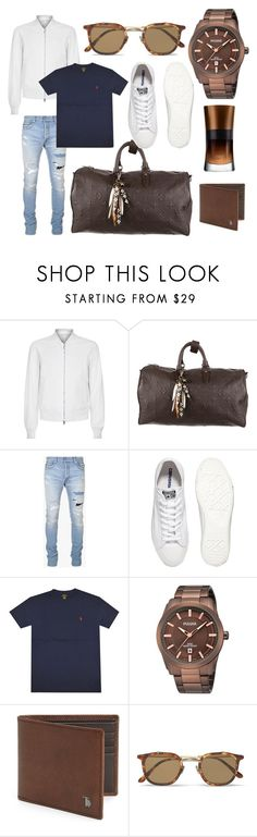 """Travellers Paradise."" by jason-woodley ❤ liked on Polyvore featuring Wooyoungmi, Louis Vuitton, Balmain, Converse, Tod's, Eyevan 7285, Giorgio Armani, men's fashion and menswear"