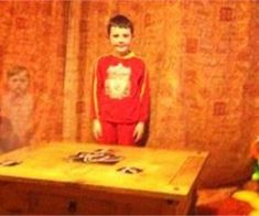 Ghoul friend: Sirus is photographed alongside the 'ghost' of a youngster at his home Picture: Newsteam Ghost Images, Ghost Pictures, Creepy Pictures, Ghost Pics, Tornados, Creepy Ghost, Scary, Paranormal Pictures, Ghost Caught On Camera