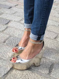 Celine, what is it about silver shoes. Silver Wedges, Silver Shoes, Metallic Shoes, Plaid Fashion, Fashion Shoes, Crazy Shoes, Me Too Shoes, Buy Shoes, Shoes
