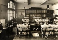 Birmingham Central Technical College c. 1930. Birmingham School of #Pharmacy. Manufacturing and Testing Laboratory. Aston University Collection. Click to view larger.