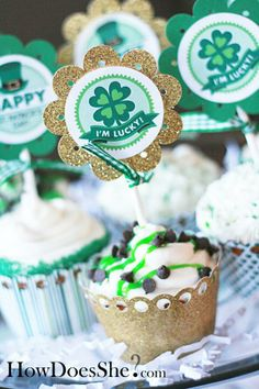 """Fun, festive cupcake toppers for St. Patrick's Day.  Use Avery full sheet labels for the free printables, or use Avery 2"""" round labels and design your own for free at avery.com/print."""
