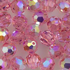 Swarovski Crystal 8mm 5000 Round Bead Light Rose AB (223 AB)