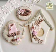 Bella Sucre:  birds nest theme - bird house, bird's nest, themed wedding cake cookie
