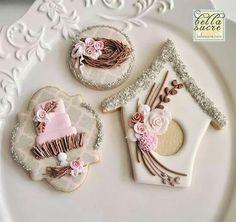 Bella Sucre:  birds nest theme - bird house, bird's nest, themed wedding cake cookie