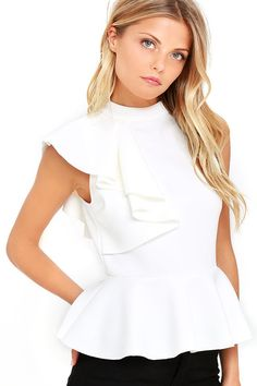 It's incredible how unforgettable you will be in the Forever More White Peplum Top! Poly-spandex, medium-weight knit hugs your silhouette from a mock neck, through a sleeveless bodice decorated with a cascading side ruffle. A peplum tier flares from the fitted waist for a flirty finish. Exposed silver back zipper.