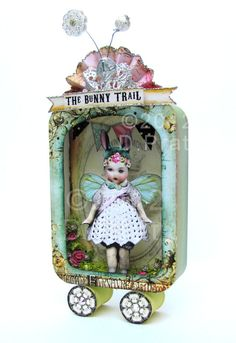 bunny trail altered tin by D.Pratt The post bunny trail altered tin by D.Pratt appeared first on Wer Shadow Box Kunst, Shadow Box Art, Altered Tins, Altered Art, Tin Can Crafts, Arts And Crafts, Paper Dolls, Art Dolls, Paper Art