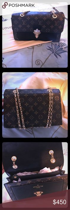 Chain Pallas One of my favorites...if you love LV ❤️ this handbag is one of my bests...The tan flap closure brings out the elegance of the LV Monogram Canvas exterior while the polished brass link chain straps add panache to it...Two thick polished brass link chain short shoulder straps...this is a well made LV look a like... Louis Vuitton Bags Shoulder Bags