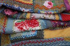 Detail - Blanket made from vintage tweeds, dyed blanket and vintage print…
