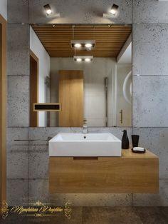 łazienka dół; beton z drewnem?; praktyczne? mała łazienka nie będzie ciemna i ponura?