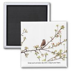 SOLD 6! Bird Singing a Happy Song Refrigerator Magnets by FunNaturePhotography on Zazzle. #birds #inspirational #magnets