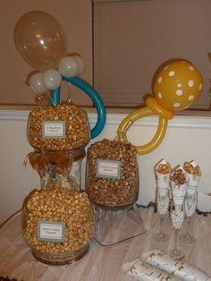 Gruetage Gourmet Popcorn makes a great baby shower party idea! I love the idea of a popcorn bar using gourmet popcorn!