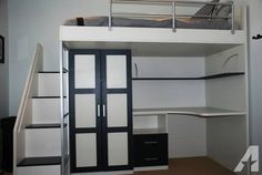 Contemporary Loft Bed w/ Built-In Desk and Closet for Sale in Solana Beach, California Classified | AmericanListed.com