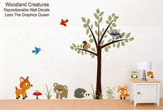 Woodland Creatures Reusable Wall Decals Forest Animals - Polyester Fabric Decal - Eco friendly & Child Safe Fabric Decal