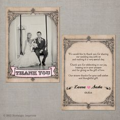 Vintage Wedding Thank You Card the Lyssa by NostalgicImprints Thank You Card Wording, Thank U Cards, Wedding Thank You Cards, Cheap Wedding Invitations, Graduation Invitations, Wedding Invitation Cards, Wedding Website Examples, British Wedding, Inexpensive Wedding Venues