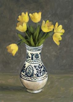 Tulips in vase painting Tulips In Vase, Spring Flowers, Flower Art, Glass Vase, Painting, Home Decor, Art Floral, Decoration Home, Room Decor