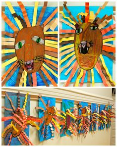 1st grade oil pastel lion collages. From the colors of my day blog.