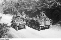 German half-tracks and a VW-Schwimmkübelwagen ( anphibious vehicle). Italy, unknown location, January 1944.