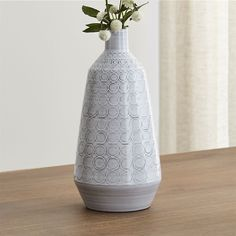 Crate & Barrel Erna Vase ($35) ❤ liked on Polyvore featuring home, home decor, vases, crate and barrel, white home decor and white vase