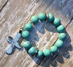 Turquoise & Silver Cross