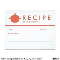 Modern Orange Pot   Minimal Recipe Card