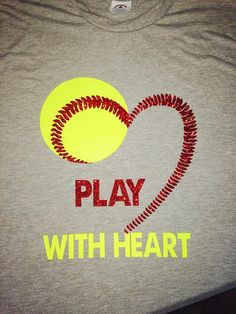 Girls Softball Play with Heart T-Shirt Fluorescent Softball yellow and red glitter transfer are used for this design on a 100% Preshrunk Cotton