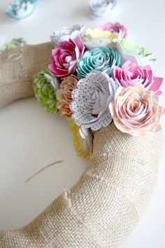 Paper flower wreath tutorial