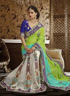 Green & Off White Silky Cotton Net , Satin Party Wear Saree