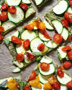 Quinoa Crust Pizza With Pesto, Zucchini And Cherry Tomatoes via @feedfeed on https://thefeedfeed.com/vegukate/quinoa-crust-pizza-with-pesto-zucchini-and-cherry-tomatoes