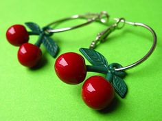 Cherry Hoop Earrings  Red Retro & Rockabilly by Tizzalicious, $12.50