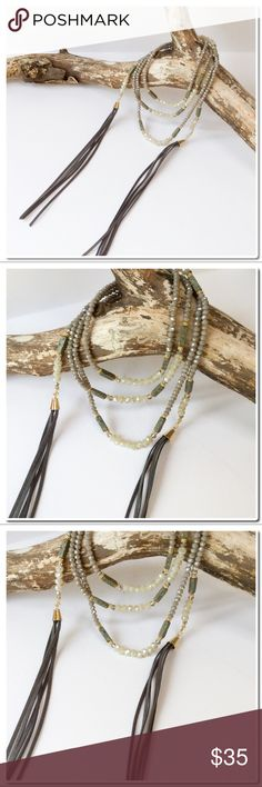 "Mix Beads Long Tassel Wrapped Choker Mix Beads Long Tassel Wrapped Choker- mix of Czech Glass Beads smoky taupes with Gray tassels - Length is 64"" Jewelry Necklaces"