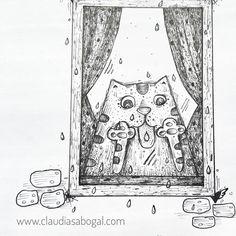 """30 Me gusta, 1 comentarios - Claudia Sabogal G. (@cgrafica) en Instagram: """"Garabato en Tardes de lluvia. #catslover #sketch  #sketchbook #lapizypapel #bocetos #illustration…"""""""