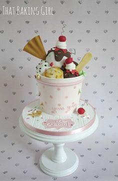 Thatbakinggirl - Elyzibeth's Birthday - Helados Ideas Fondant Cakes, Cupcake Cakes, Ice Cream Birthday Cake, Gravity Cake, Fantasy Cake, Ice Cream Candy, Candy Cakes, Giant Cupcakes, Edible Cake