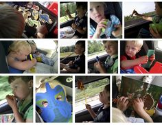 Road Trip Activities: magnets on a small metal tray, pipe-cleaner fishing, brushing plastic animals (with a vegetable brush) to give them a bath, painting the windows with water and paintbrush, markers and coloring books, party blower, motion-activated singing bird, scrubbing toys with a sponge, scented play-doh, foam mask, pinwheel in the air vents, vinyl sticker book