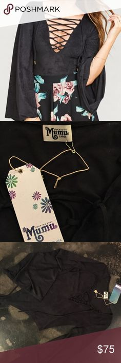 Body Suit Show Me Your MuMu - Black lace up Body Suit!! Never been worn. New with tags!! Size Large. Show Me Your MuMu Tops Blouses