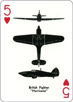 Airplane Spotter Playing Card ~ 5 of hearts