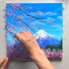 The cherry blossoms in the Mt. Fuji Acrylic Painting Buying a new proven fact that everyone in your family will like doing together outside? Canvas Painting Tutorials, Easy Canvas Painting, Easy Paintings, Amazing Paintings, Mini Paintings, Pour Painting, Painting Videos, Painting Lessons, Small Canvas Art