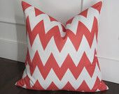 coral cheveron pillow on etsy
