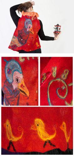 Figurative felt art work women vest - reversible, playful, multicolored, red