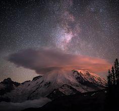 Milky Way over Mt. Rainier Lenticular cloud forming over the peak of Mount Rainier, partially blocking full view of Milky Way.  by Matt Sahli on 500px