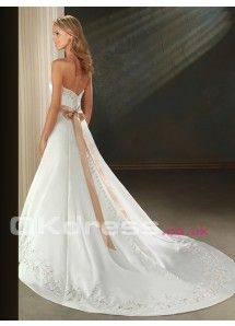 Satin Strapless Empire Embroidery 2014 Wedding Dresses