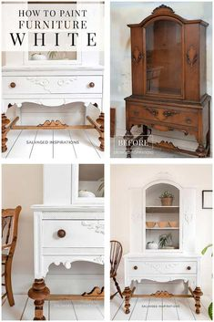 How To Paint Furniture White - Salvaged Inspirations White Painted Furniture, Refurbished Furniture, Repurposed Furniture, How To Paint Furniture, Diy Furniture Renovation, Furniture Projects, Furniture Makeover, Do It Yourself Furniture, Table Design