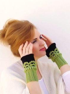 Fingerlose Handschuhe, häkeln, stricken, Arm-Pulswärmer, grün schwarz, Frauen…
