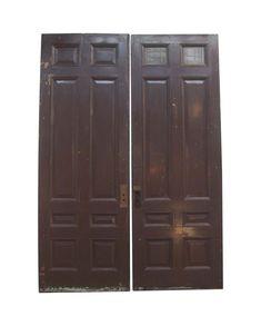 Antique Solid Wood 8 Panel Double Doors 116.875 x 81.75