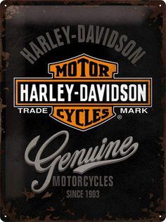 Harley Davidson Genuine Metalen wandbord in relief 40 x 30 cm Nostalgic Art, Nostalgic Images, Harley Davidson Signs, Harley Davidson News, Motorcycle Posters, Biker T Shirts, Vintage Stil, Ben And Jerrys Ice Cream, Tin Signs