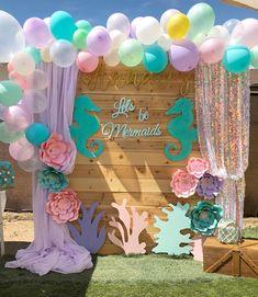 Let's be Mermaids Girls Birthday Party Themes Mermaid Theme Birthday, Little Mermaid Birthday, Little Mermaid Parties, Mermaid Themed Party, Mermaid Party Decorations, Birthday Party Decorations, Idee Baby Shower, Mermaid Baby Showers, Baby Shower Mermaid Theme