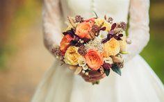 壁紙をダウンロードする 結婚式の花束, 花嫁, バラ, コギキョウ, 色とりどりの花, 結婚