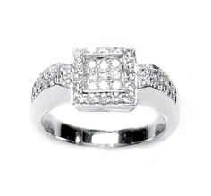 This is an invisible pave plat ring with cluster paves on the sides, set with diamonds. The ring is set with 47 diamonds, round brilliant cut, white color in ranges of F-G, clarity is eye clean VS1, total carat weight is 0.55 carat.(The ring is available with any kind of diamonds & gemstones, please contact us for more Information)What's my ring size? >>
