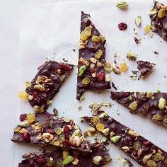 Chocolate bark is one of the easiest ways to get your chocolate fix. These recipes brings the crunch with toppings that include nuts, seeds, dried fruit and candied orange peels.