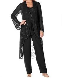 Mother-of-Bride-Groom-Womens-Wedding-beaded-dress3PC-duster-pant-suit-plus1X-2X