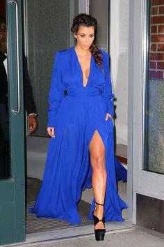 kim kardashian style sexy slit red carpet blue prom dress cheap party gown